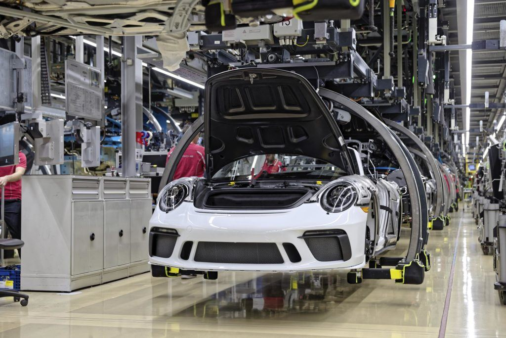 Last Porsche 911 of the 991 generation comes off the production line in Baden-Württemberg, Stuttgart.