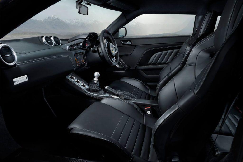 Lotus Evora GT410 interior layout.