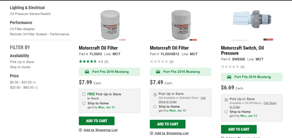 Motorcraft oil filter O-Reilly screenshot.