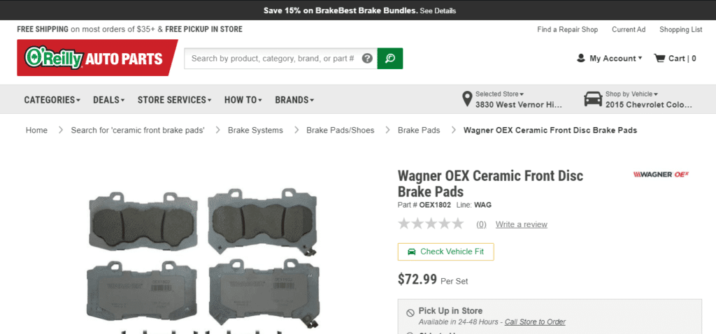Wagner brake pads O-Reilly screenshot.
