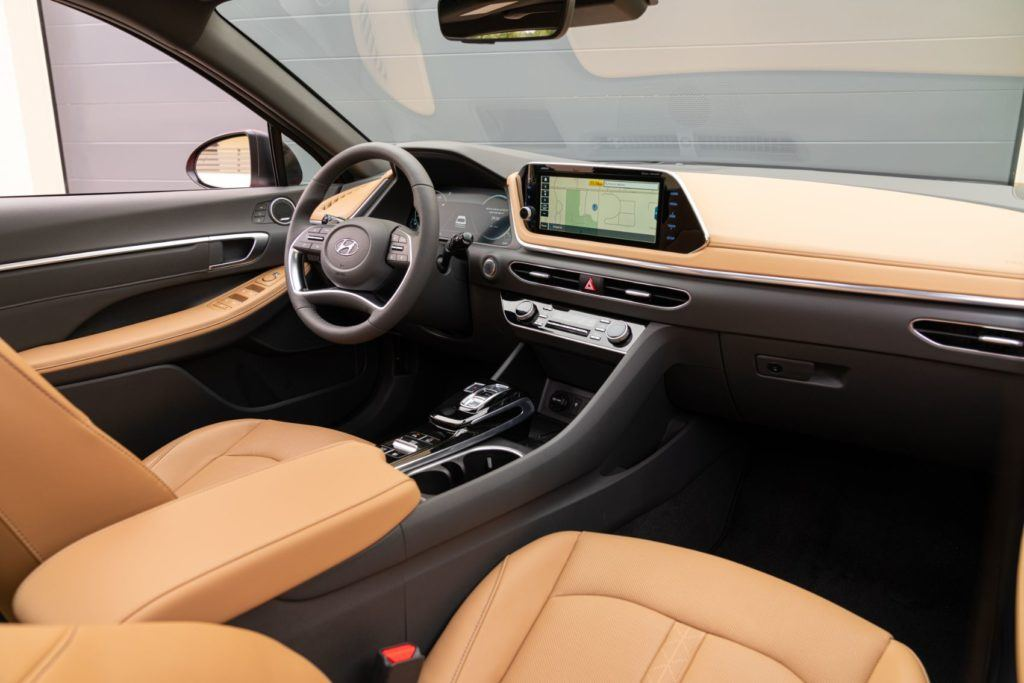 2020 Hyundai Sonata Limited interior layout. Our only complaint? No heated steering wheel.