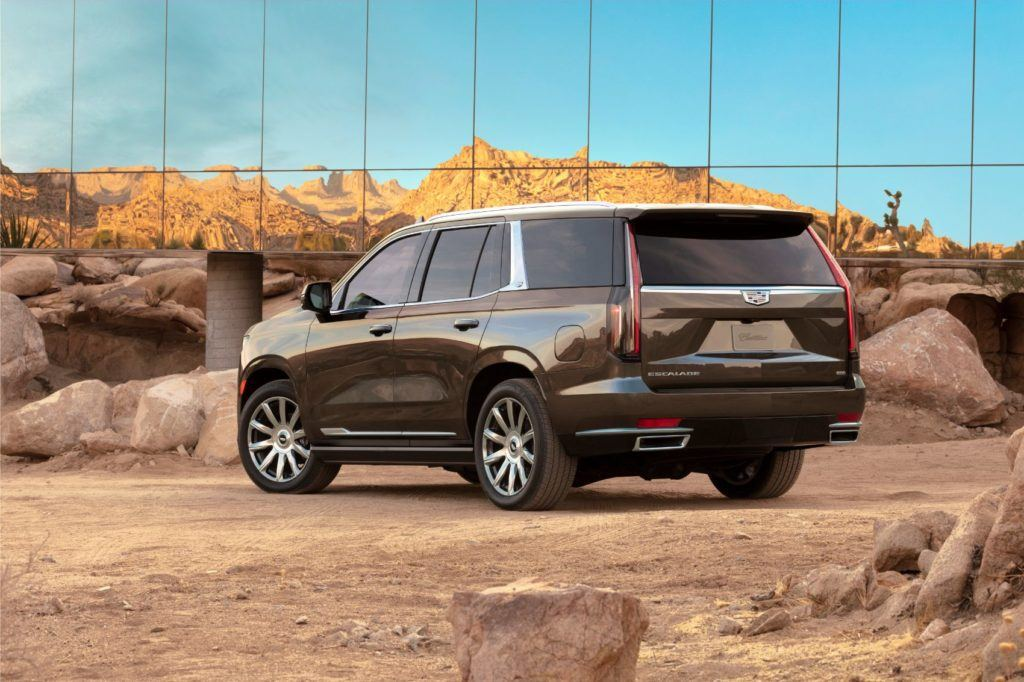 A trailering package is standard on the 2021 Cadillac Escalade. An available Trailering Integration Package offers nine camera views, a trailer brake controller, and an app with profiles for different trailers.