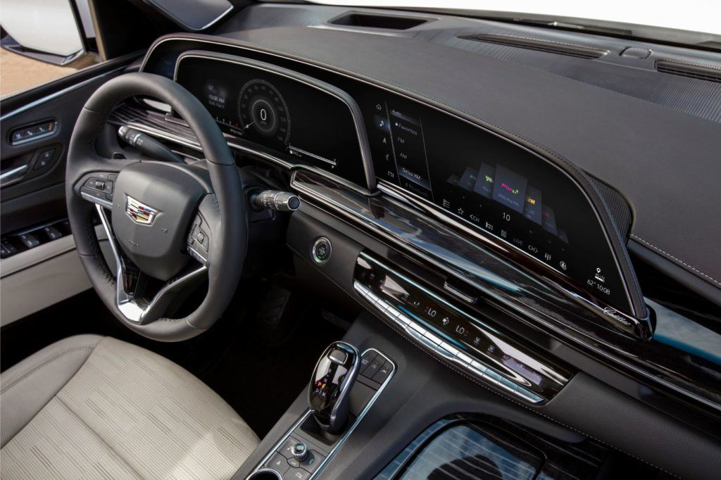 2021 Cadillac Escalade interior layout with the curved OLED display.