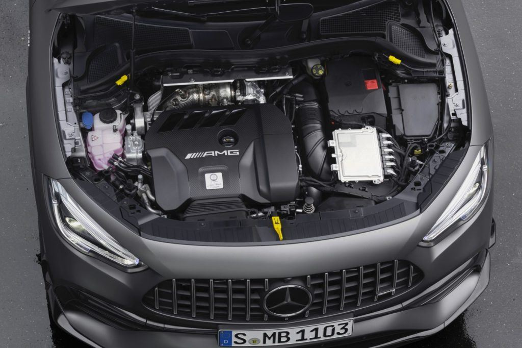 The 2021 Mercedes-AMG GLA 45 features a special, two-stage fuel injection system.