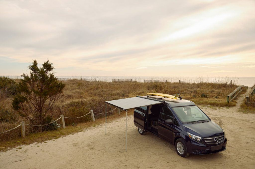 Mercedes-Benz weekender with the available awning.
