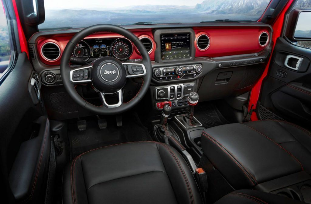 2020 Jeep Wrangler Unlimited Rubicon interior layout.