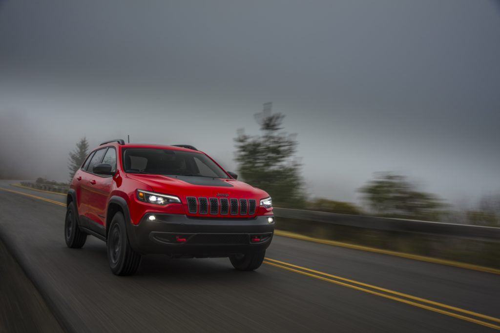 2020 Jeep Cherokee Trailhawk on the open road.