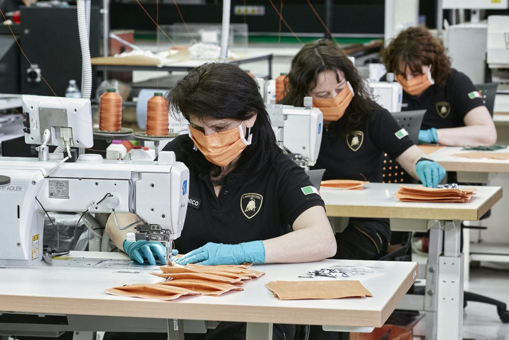 Lamborghini upholstery workers producing surgical masks