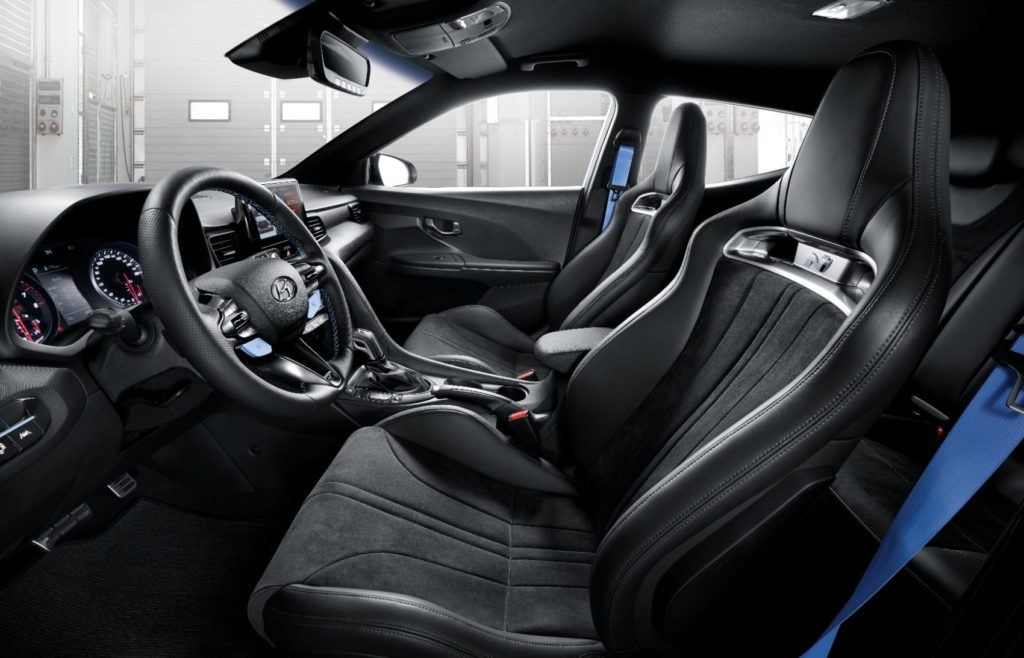 2020 Hyundai Veloster N interior layout (with the N eight-speed wet dual-clutch transmission).