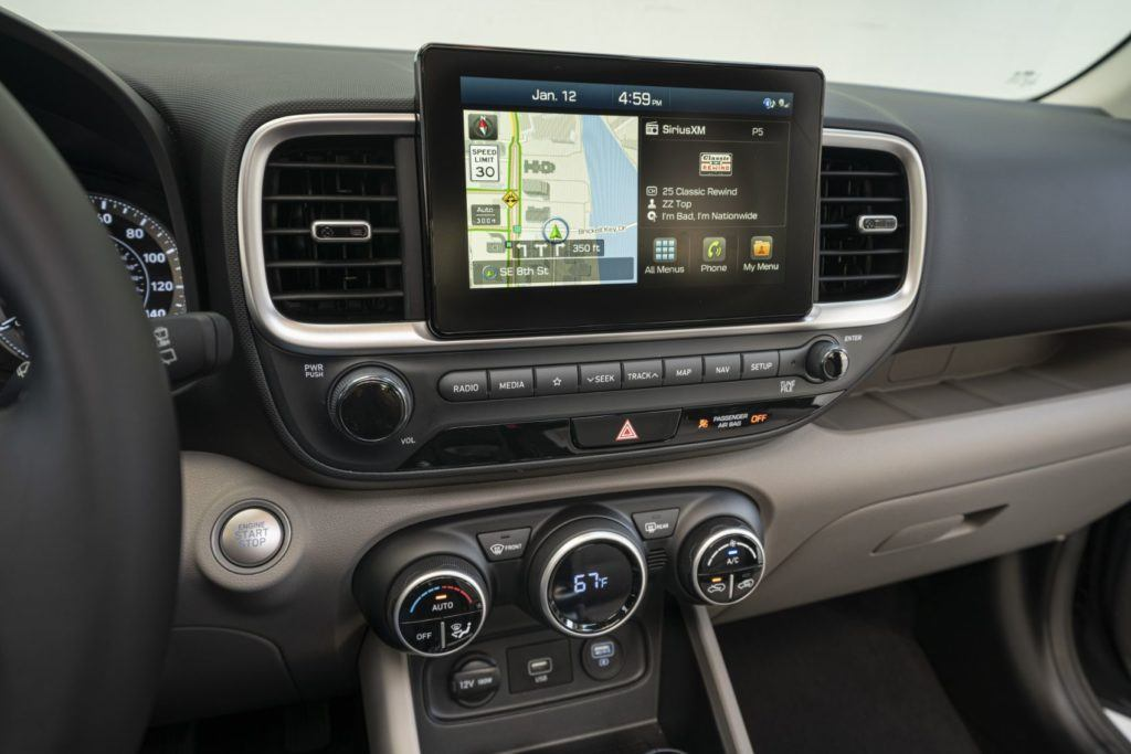 Eight-inch touchscreen inside the 2020 Hyundai Venue.