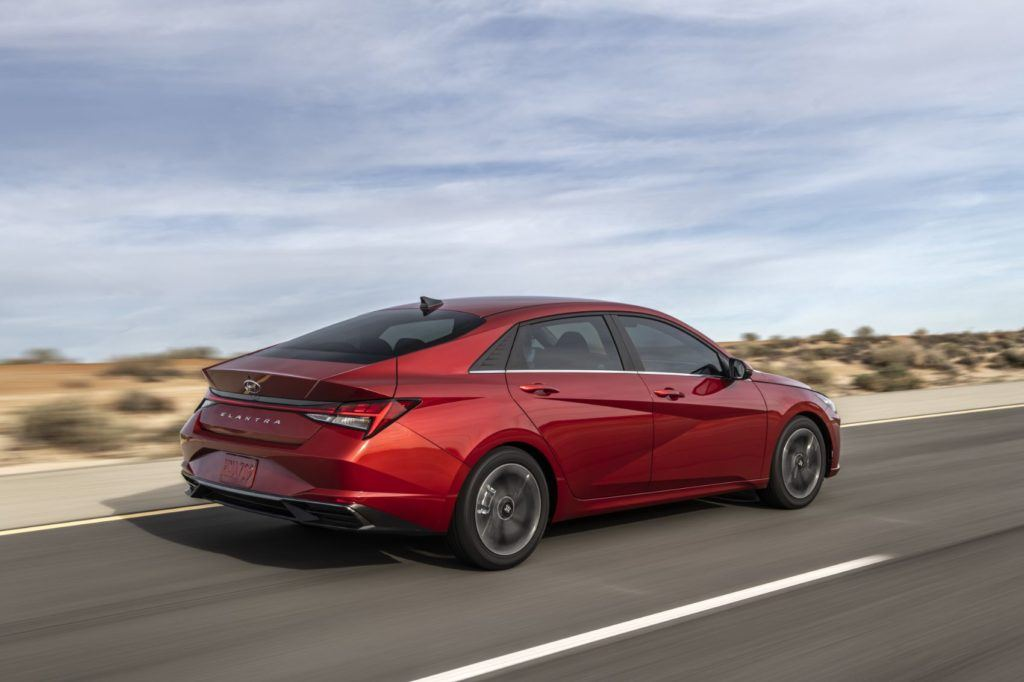 The 2021 Hyundai Elantra, now in its seventh generation, rides on an entirely new platform. The Elantra is called the Avante in the Korean domestic market. Photo: Hyundai Motor America.