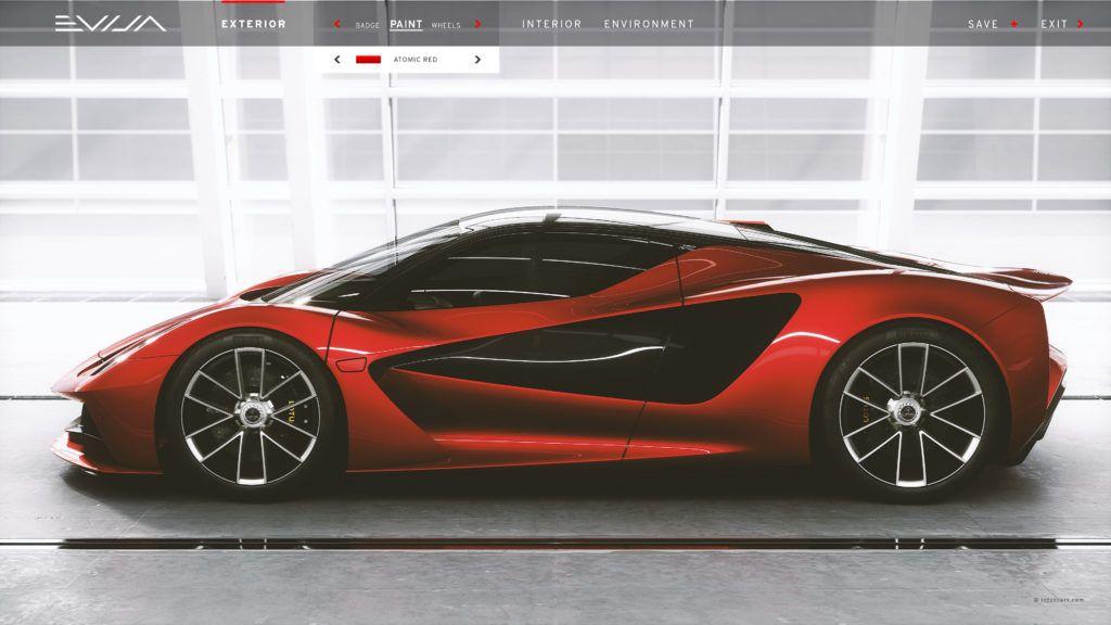 Lotus Evija Configurator side