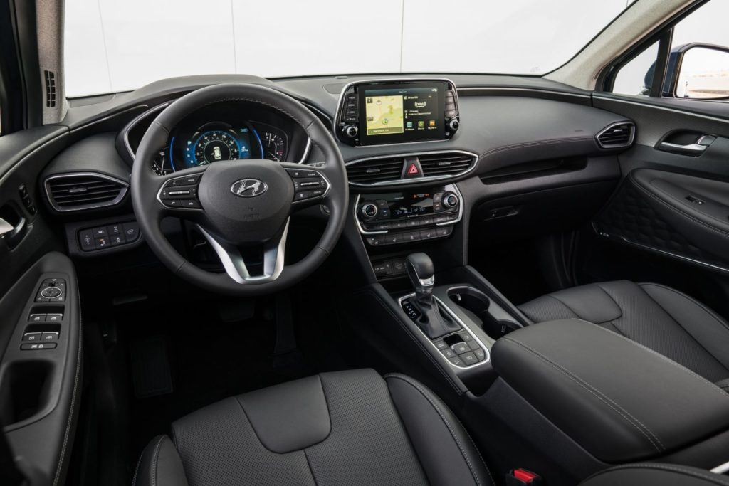 2020 Hyundai Santa Fe interior layout.