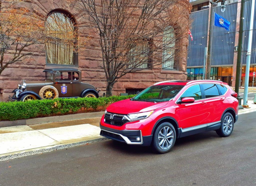 Our 2020 Honda CR-V Touring press vehicle in downtown Detroit, Michigan.
