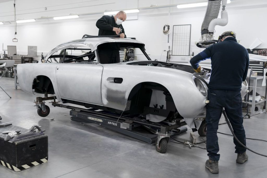 Aston Martin DB5 Goldfinger Continuation being built in the Newport Pagnell factory.