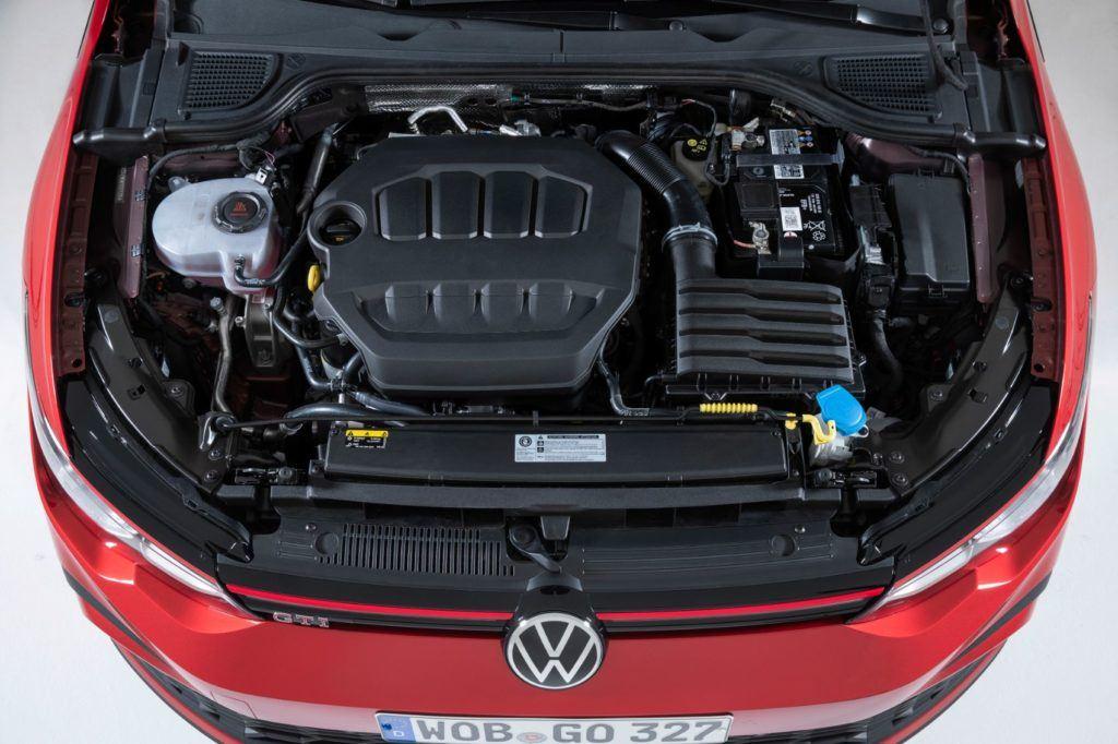 VW Golf GTI under the hood.
