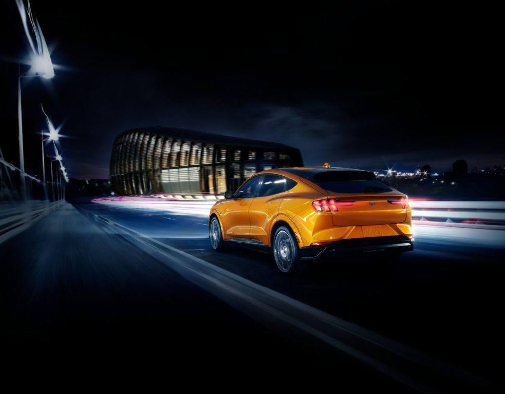 2021 Ford Mustang Mach-E Cyber Orange Rear Profile