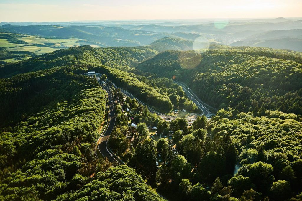 Aerial shot of the Nordschleife where Audi Sport GmbH conducts testing.