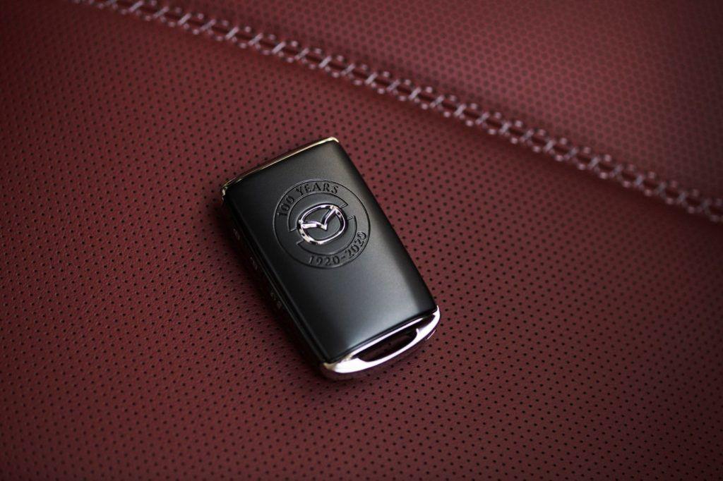 100th Anniversary Special Edition Mazda MX-5 Miata key fob.