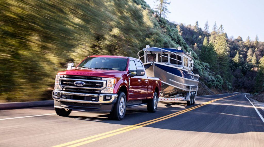 2020 Ford Super Duty on the open road.