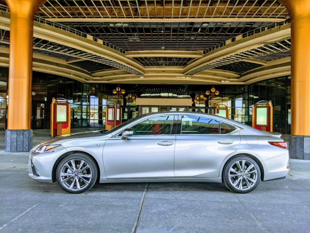 Our 2020 Lexus ES 350 F Sport press vehicle in front of the AMC Star Southfield 20 movie theater near Detroit.