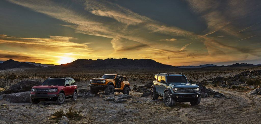 2021 Ford Bronco family. From left to right: Bronco Sport, Bronco two-door, and Bronco four-door. Photo: Ford Motor Company.