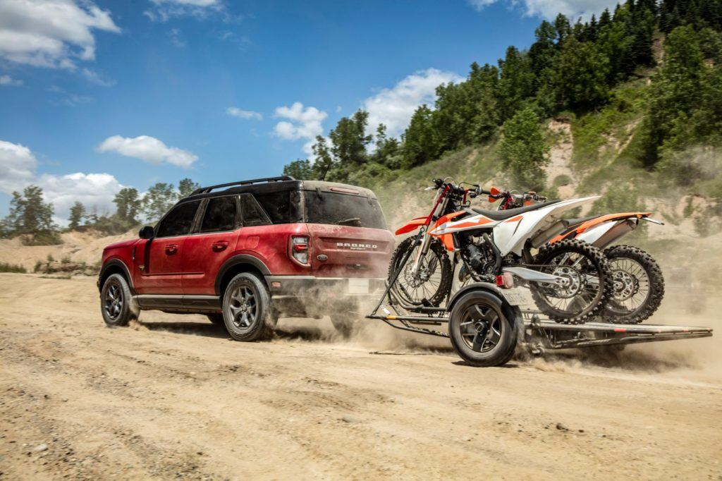 2021 Ford Bronco Sport towing dirt bikes,