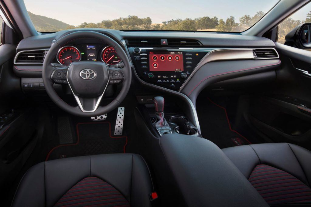2020 Toyota Camry TRD interior layout.
