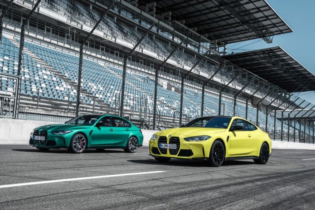 2021 BMW M3 Competition (left) and M4 Competition.