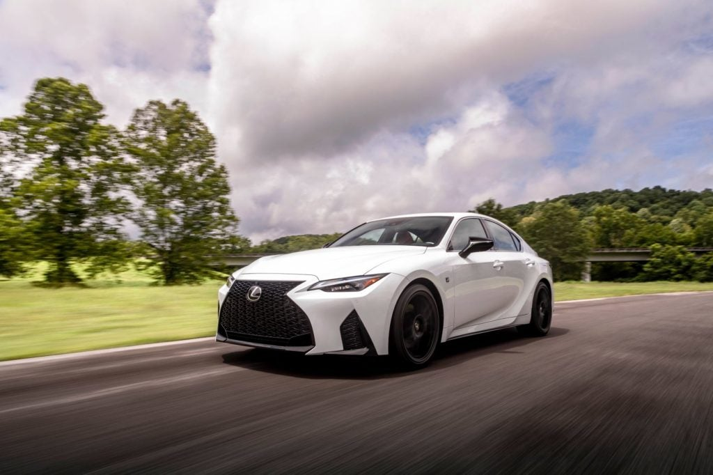 The electronically controlled all-wheel drive system of the 2021 Lexus IS maintains a 30:70 front-to-rear torque split. However, in certain conditions, the system can send as much as 50 percent of the available power to the front wheels.