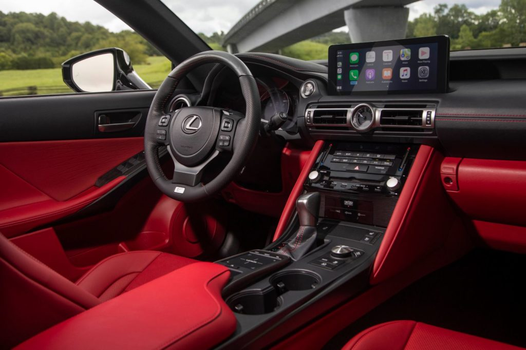 2021 Lexus IS 350 F Sport interior layout in Circuit Red.