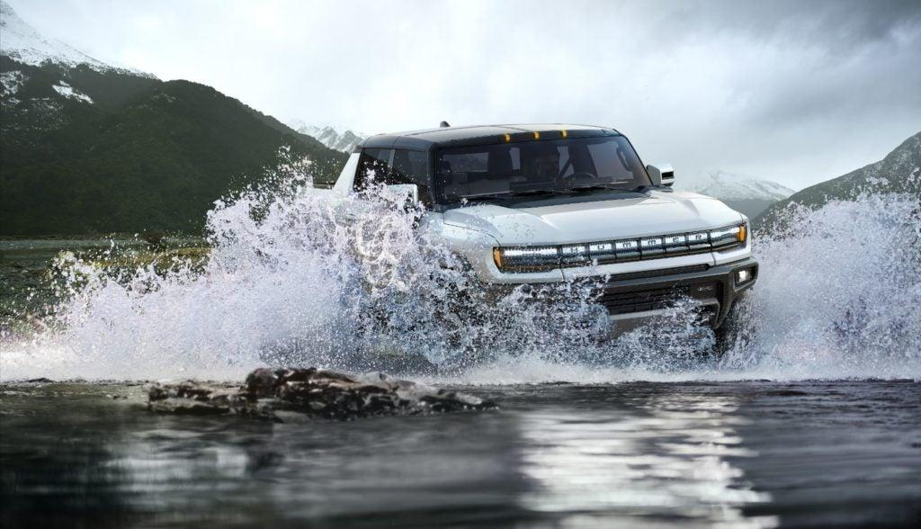 2022 GMC Hummer EV fording water.
