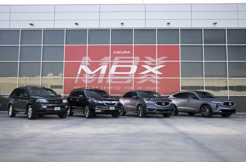 The Acura MDX family though the years.