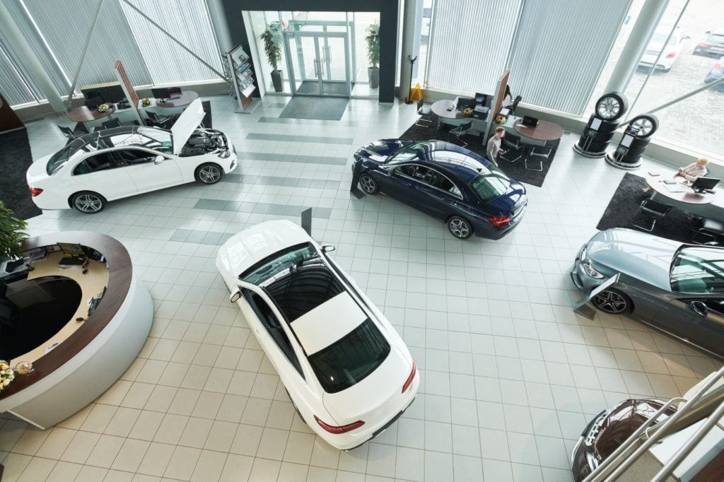 Dealership showroom.