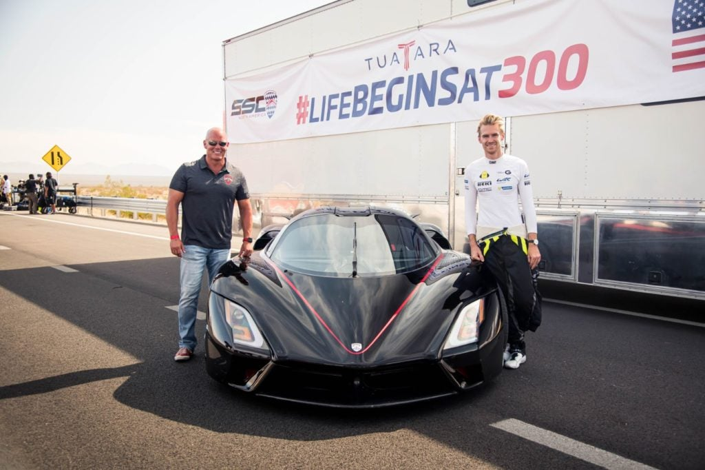Jerod Shelby (left) and driver Oliver Webb (right) with the SSC Tuatara hypercar.