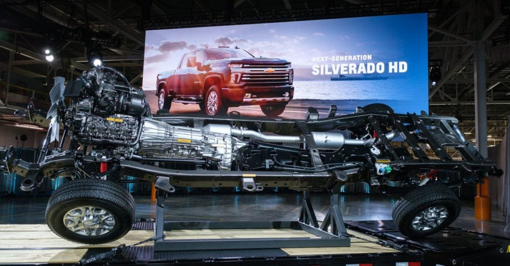 The chassis of the 2020 Chevy Silverado HD on display Tuesday, February 5th, 2019 at General Motors Flint Assembly where the trucks are manufactured.
