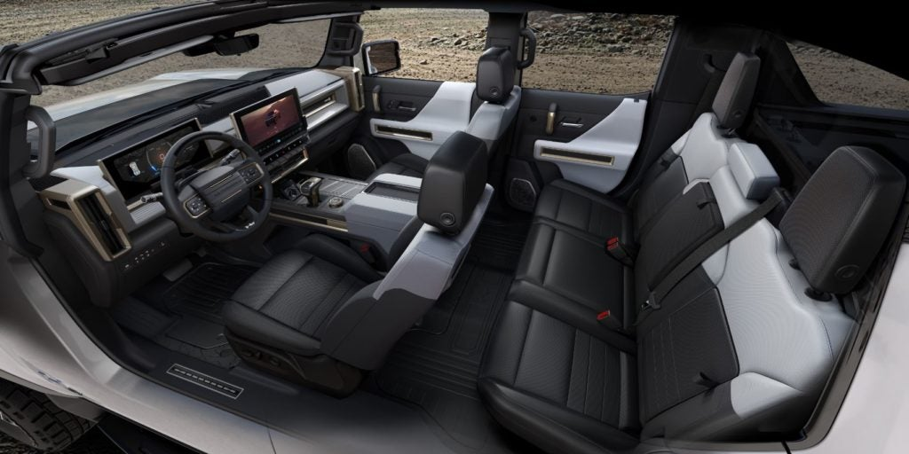 2022 GMC Hummer EV interior layout.