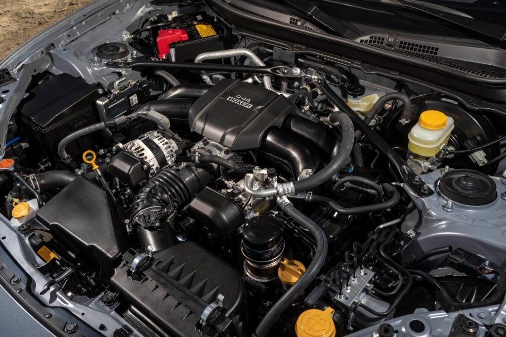 2022 Subaru BRZ under the hood.