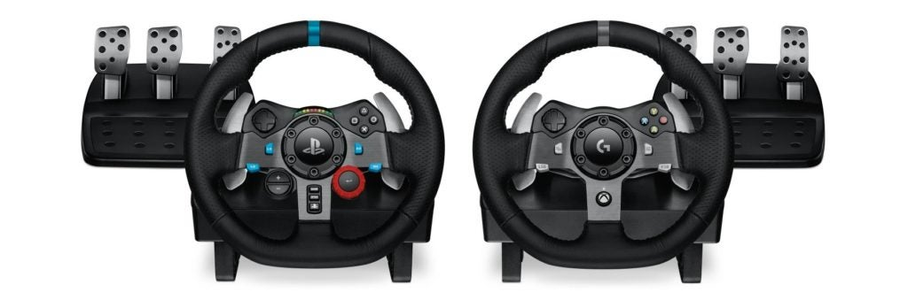 Logitech G29 (left) for PlayStation and G920 for XBox.
