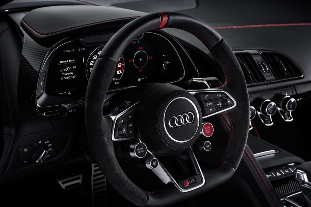 Audi R8 Panther Edition steering wheel.