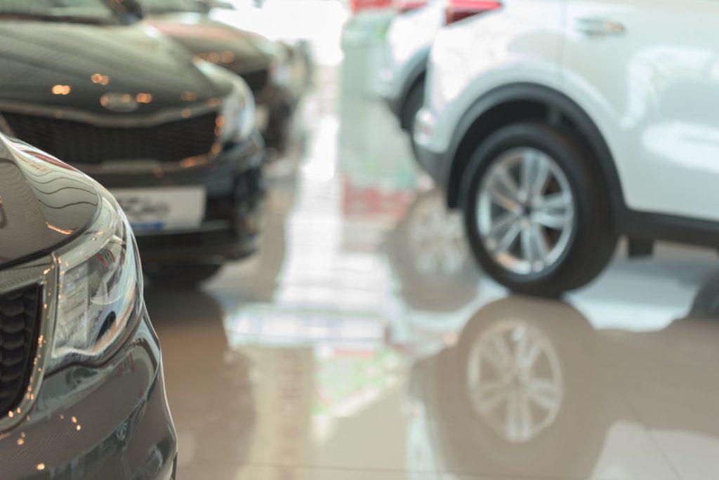 Car dealership showfloor.