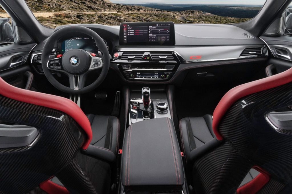 2022 BMW M5 CS Sedan interior layout.