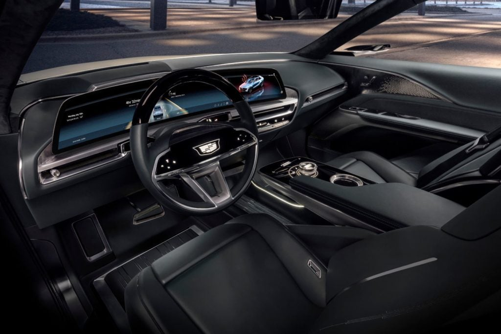 The Cadillac LYRIC show vehicle features a 33-inch diagonal LED display with a customizable user interface The large screen wraps toward the driver, and information is intuitively displayed where it's needed most, according to Cadillac.
