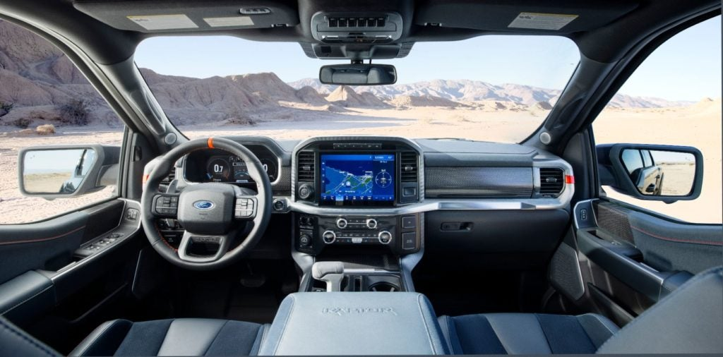 2021 Ford F-150 Raptor interior layout.