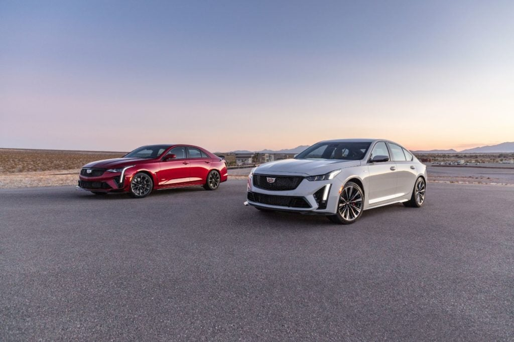2022 Cadillac CT4-V (left) and CT5-V-Blackwing.
