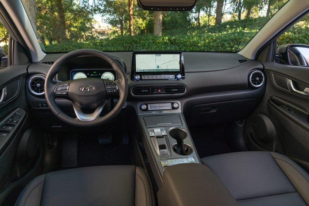 2022 Hyundai Kona Electric interior layout.