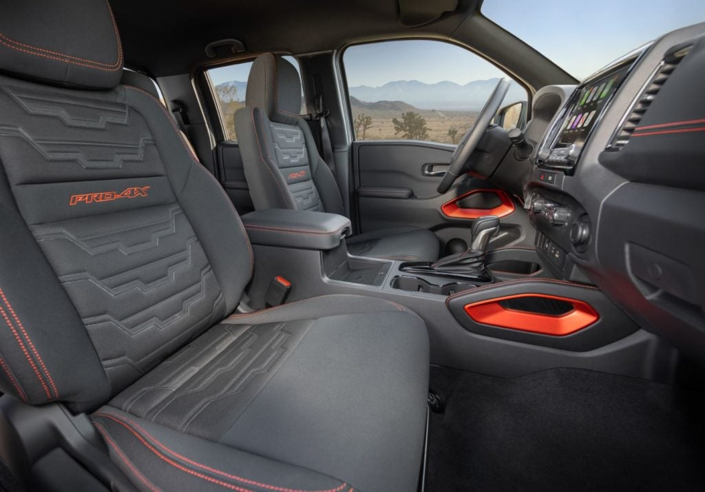 2022 Nissan Frontier PRO-4X interior layout.