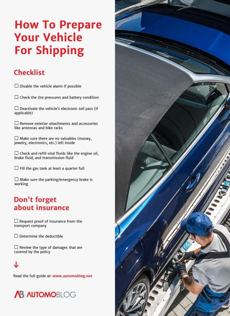 Checklist for shipping you car across the country.