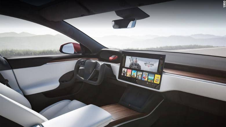 Tesla Model S interior layout.