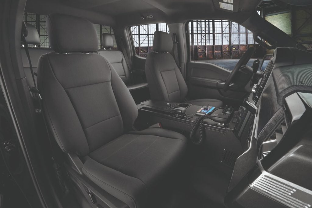 2021 Ford F-150 Police Responder interior layout.